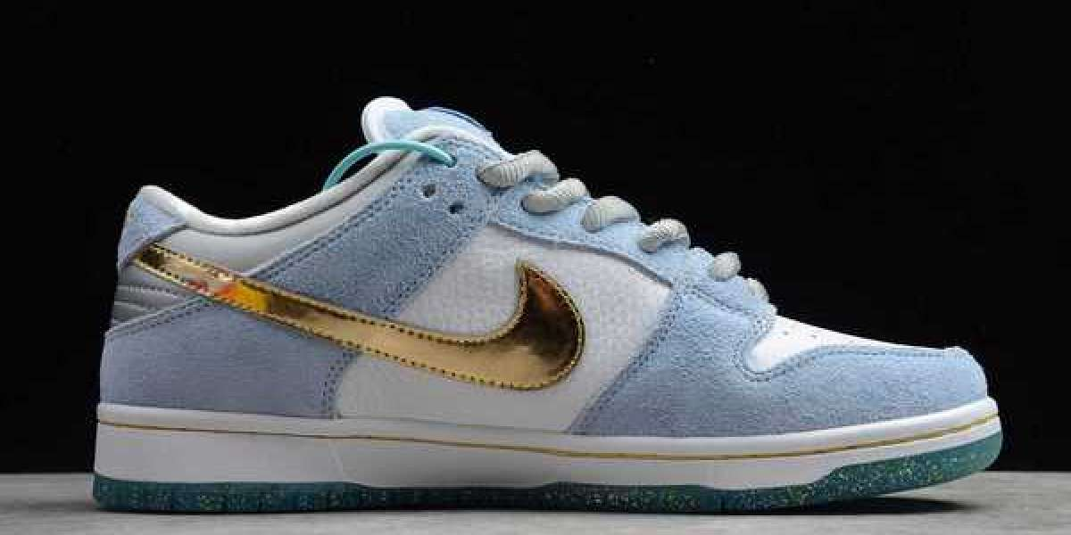 DC9936-100 Newest Sean Cliver x Nike Dunk Low SB White/Psychic Blue-Metallic Gold Shoes